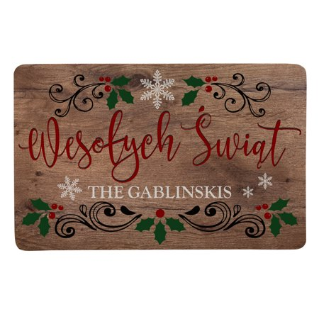 Merry Christmas In Polish.Personalized Languages Of Christmas Doormat Polish