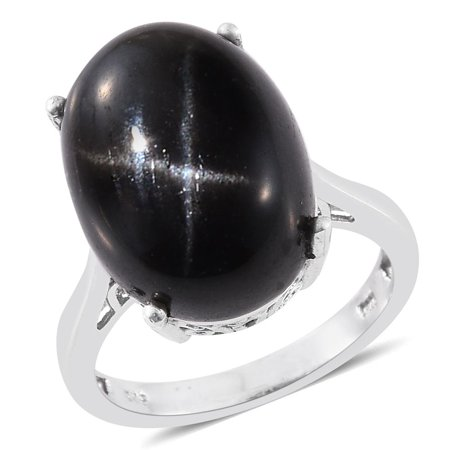 Indian Black Star Diopside Platinum Over Sterling Silver Ring (Size 8.0) TGW 22.75 cts.