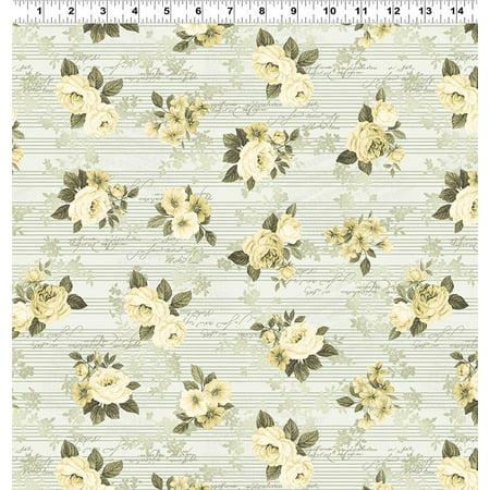 Clothworks Cotton - Clothworks - Love Song - Light Cream - Cotton Fabric
