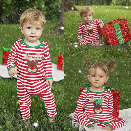 Christmas Newborn Kids Baby Boys Girls Striped Pajamas Sleepwear Romper Bodysuit ()