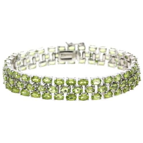 Sterling Silver Peridot 3-Row Tennis Bracelet by SilverSpeck