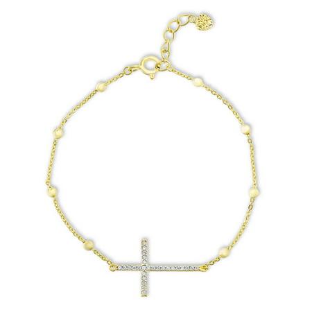 Womens Cubic Zirconia Cross Station Beaded Bracelet in Yellow Gold Plated Sterling Silver Seed Bead Crosses Bracelet