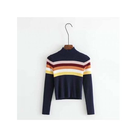 Topumt Women Colorful Striped Turtleneck Knit Bottoming Sweet Long Sleeve Sweater