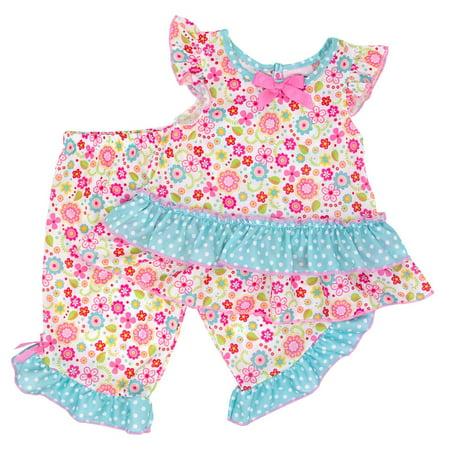 Laura Dare Little Girls Pink Blue Polka Dot Floral Print 2 Pc Pajama Set](Laura Dare Halloween)