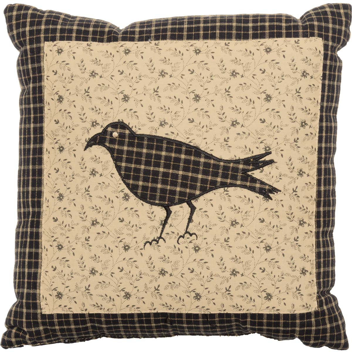 Country Black Primitive Bedding Prim Grove Crow Cotton Appliqued Nature Print Square 10x10 Pillow
