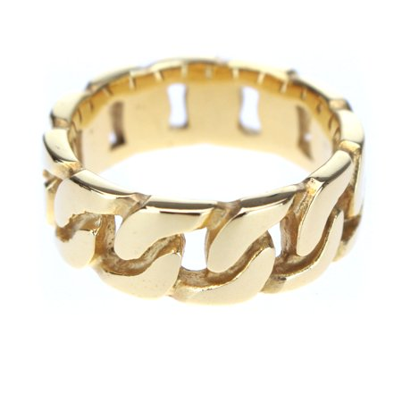 Mens 14K Gold Plated Chain Shape Steel Core Hip Hop Ring Size 8