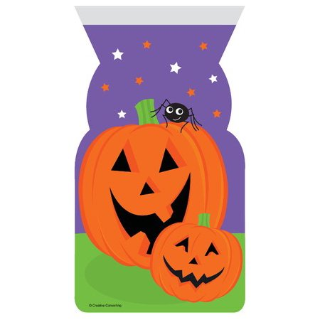 Club Pack of 144 Orange Pumpkin Faces Halloween Cellophane Party Favor Loot Bags with Zipper Closure 12