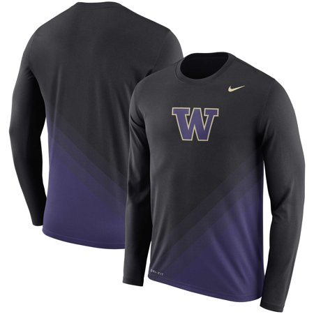 Washington Huskies Nike 2nd Season Sideline Gradient Dri-FIT Legend Long Sleeve T-Shirt - Black -
