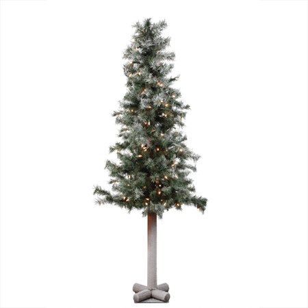 5 x 28 Pre-Lit Frosted and Glittered Woodland Alpine Christmas Tree - Clear Lights