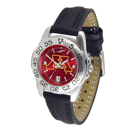 Minnesota Golden Gophers NCAA AnoChrome Sport Ladies Watch (Leather Band)