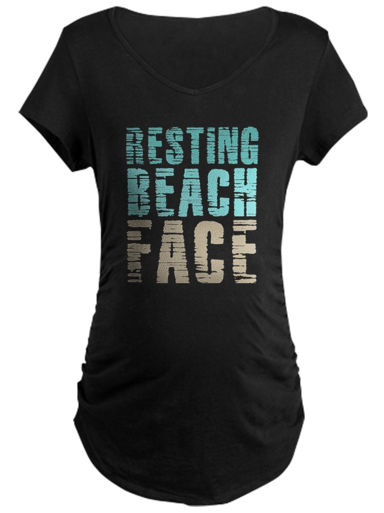 CafePress - Resting Beach Face Color - Maternity Dark T-Shirt