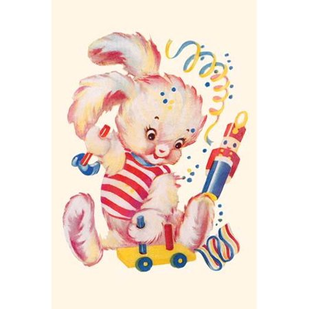 A plush toy bunny rabbit hammers a toy car among streamers as a toy soldier watches  In the 1930s the classic homemaker could purchase decals applied by water to