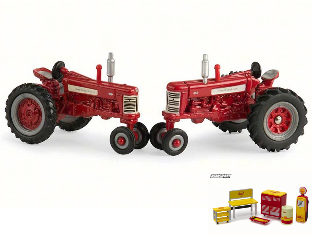 Diecast Car & Shop Tools Package Farmall 350 450 Tractors, Red Tomy 44077 1 64 Scale... by ModelToyCars