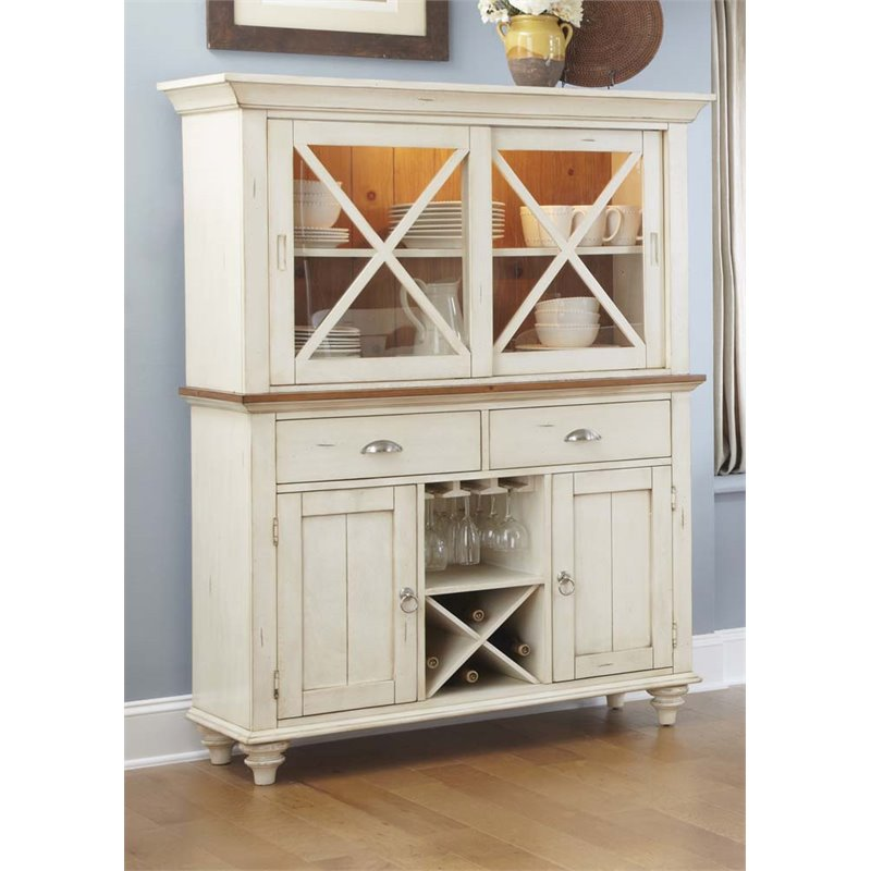 Liberty Furniture Ocean Isle China Cabinet in Bisque with Natural Pine by Liberty Furniture