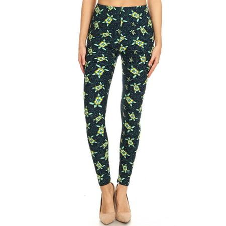 - Women's Regular Sea Turtle Starfish Pattern Printed Leggings