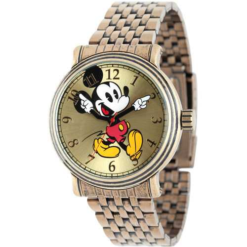 Mickey Mouse Men's Antique Gold Vintage Articulating Alloy Case Watch, Gold Bracelet
