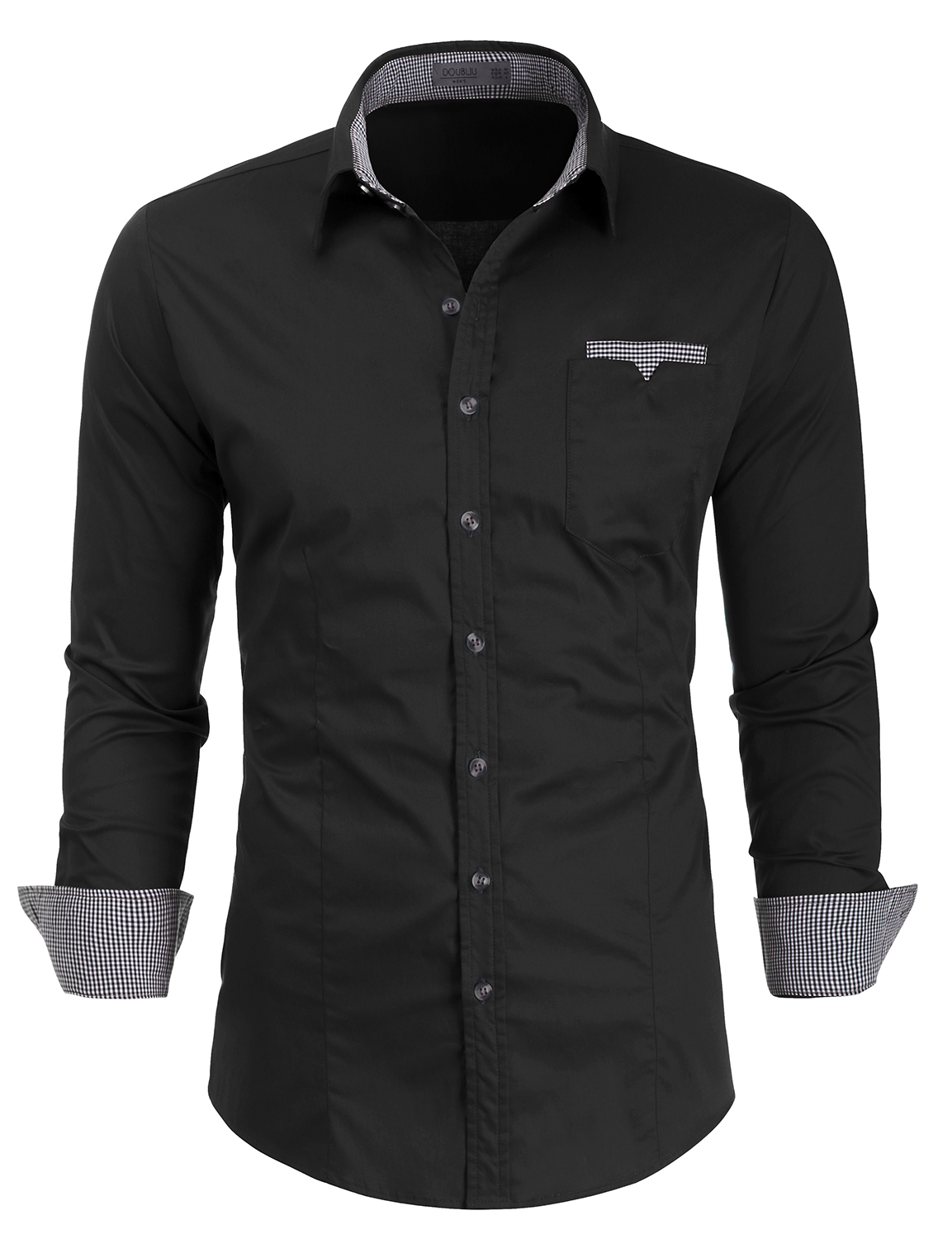 Doublju Mens Long Sleeve Slim Fit Casual Shirts with Flannel Detail