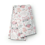Levtex Baby - Night Owl Pink Plush Blanket - Tossed Owls and Trees on Soft Plush with Ric Rac Trim - Pink, Grey, White - Nursery Accessories - Blanket Size: 30 x 40 in.