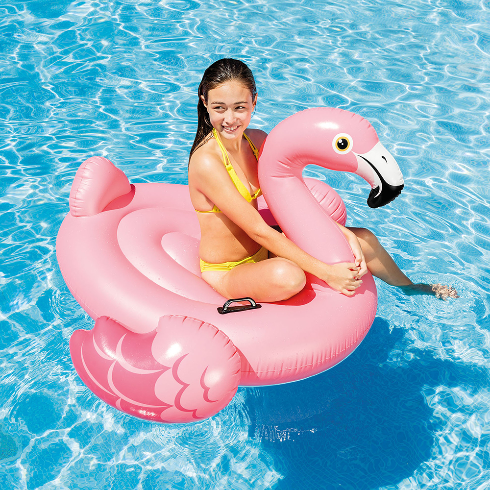"Intex Inflatable Flamingo Ride On Pool Float, 56"" x 54"" x 38"""