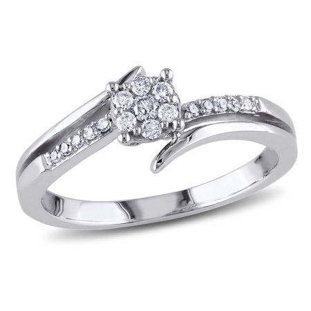 1/5 Carat T.W. Diamond 10kt White Gold Floral Engagement Ring