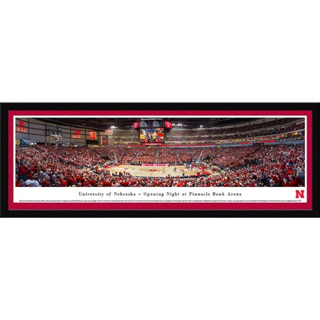 Nebraska Cornhuskers Basketball - Opening Night at Pinnacle Bank Arena - Blakeway Panoramas NCAA College Print with Select Frame and Single (Nebraska Cornhuskers Framed)