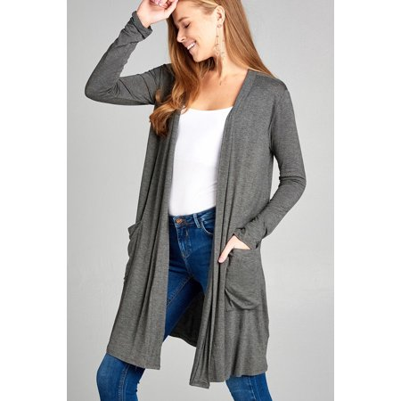 Women's Lightweight Cardigan Knee Length Long Sleeve Draped Open Front with Pockets Several Colors