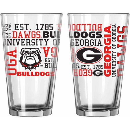 Boelter Brands NCAA Set of Two 16 Ounce Spirit Pint Glass Set, University of Georgia Bulldogs
