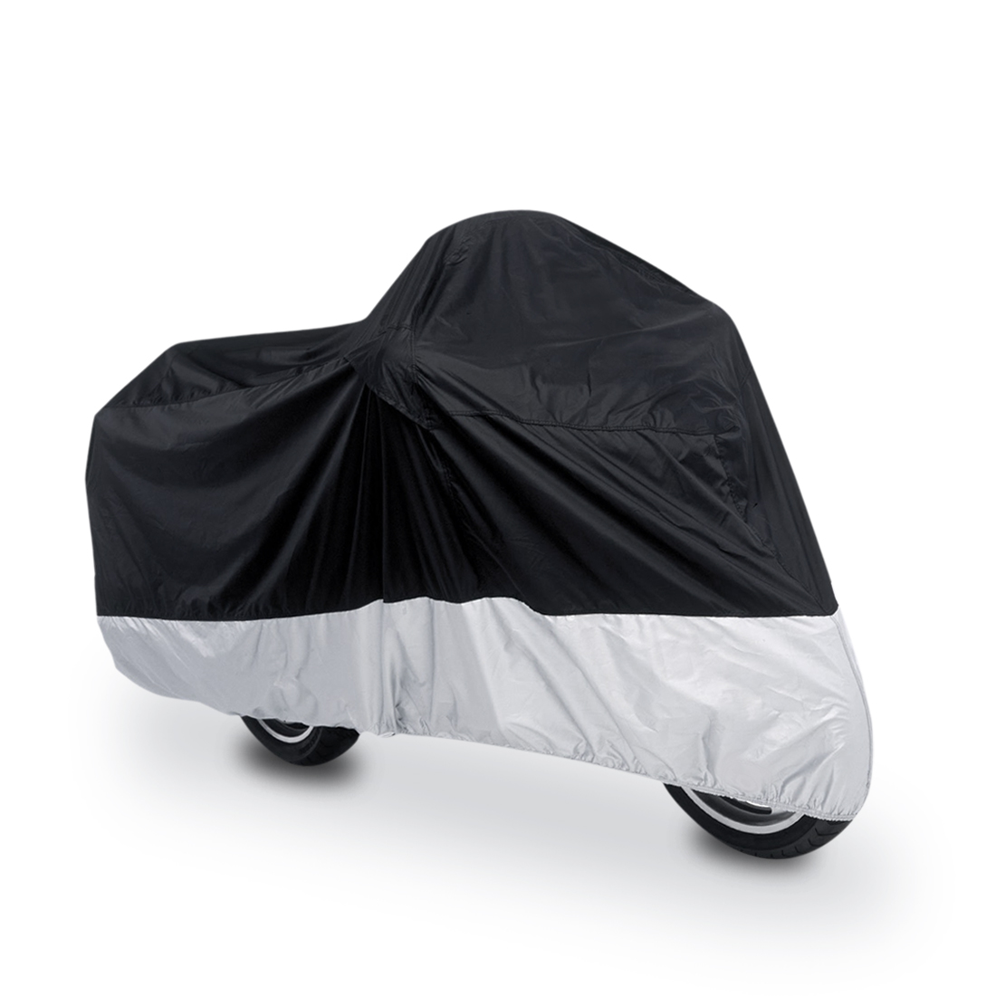 XL 190T Rain Dust Motorcycle Cover Outdoor UV Snow Water Proof Black Silver