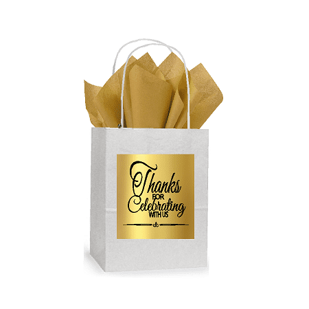 Thanks for Celebrating White and Gold Themed Small Party Favor Gift Bags Stickers Tags -12pack - Good Party Themes