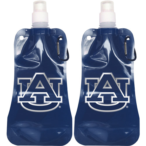 NCAA 16 oz Auburn Tigers Foldable Water Bottle Set, 2pk