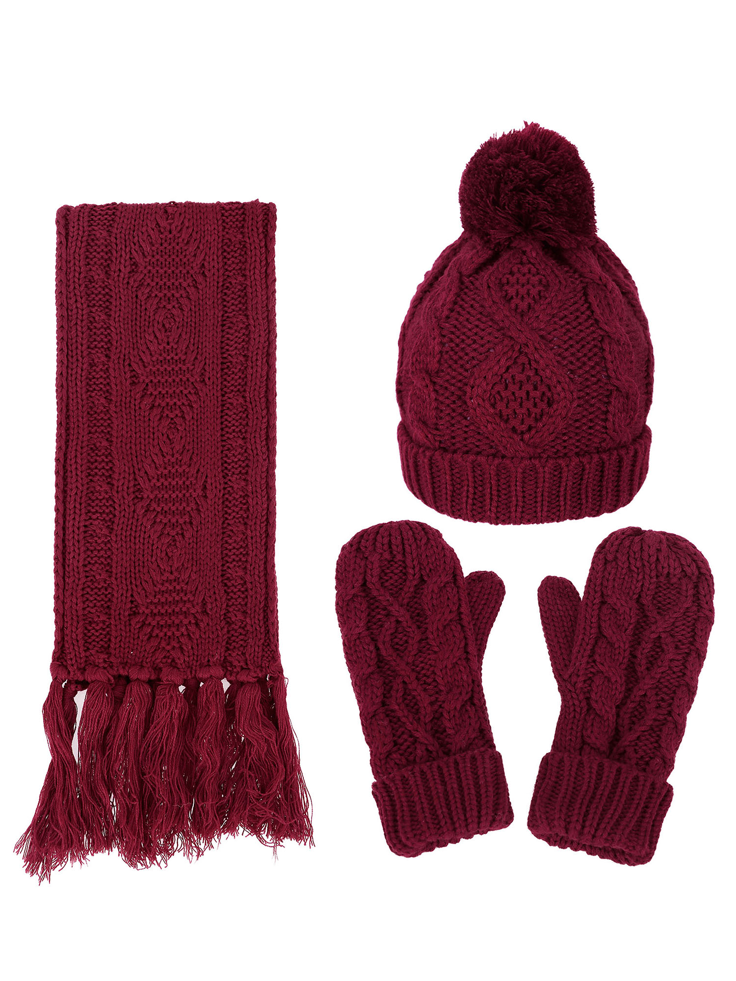 Burgundy and Gray Beanie Hat and Scarf Gift Set