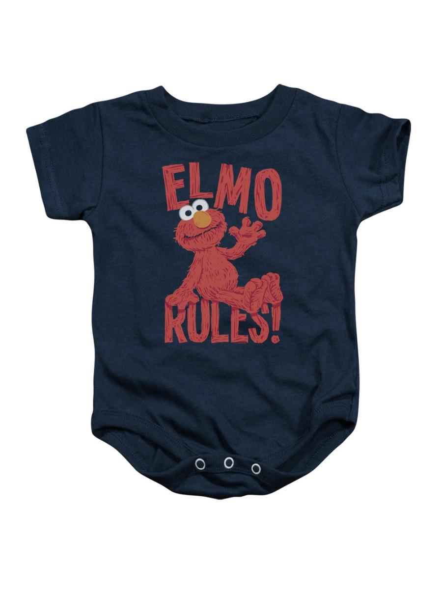 Sesame Street Classic Children's TV Show Elmo Rules Infant Romper Snapsuit