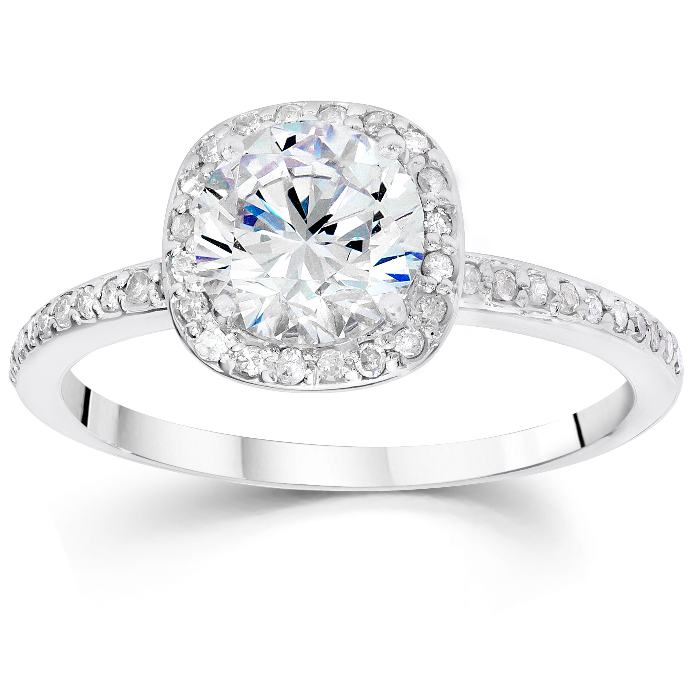 5/8ct Cushion Halo Diamond Engagement Ring 14K White Gold Solitaire Round Cut