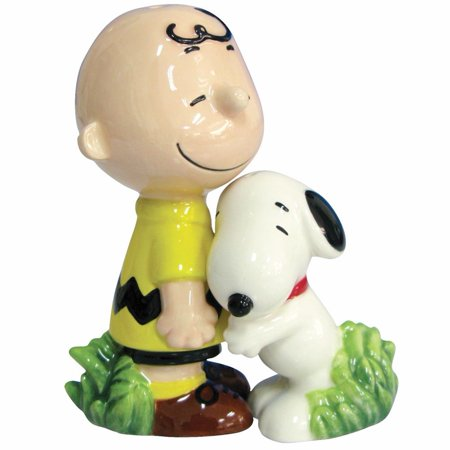 Peanuts charlie brown snoopy hugging magnetic ceramic salt - Hugging salt and pepper shakers ...