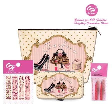 OH FASHION Beauty Set: Cosmetic Bag, Make up organizer, Manicure Set,Nail Clipper, Cuticule Trimmer, Cuticle pusher, nail scissors, tweezers (2pcs) and Mini Nail File Vintage Queen style (Manicure Beauty Set)