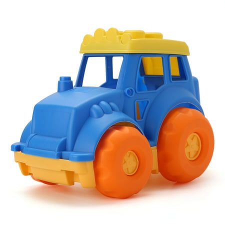 Toy Car Vehicle for Kids Toddler - Soft Plastic, BPA Free, Yellow / Blue / Orange, 9 Inches](Plastic Cars)