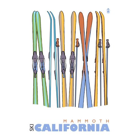 Mammoth, California, Skis in the Snow Print Wall Art By Lantern Press