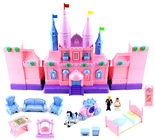My Dream Castle Mansion 43 Toy Doll Playset w/ Lights, Sounds, Prince and Princess Figures, Horse Carriage, Castle Play House, Furniture, Accessories