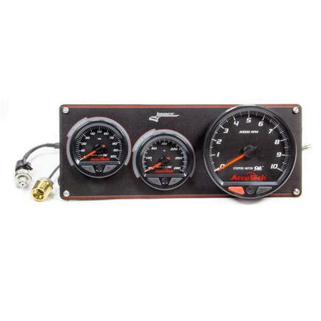 Longacre 52-44470 2 Gauge Aluminum Panel with AccuTech SMi Tachometer, Oil Pressure & Water Temperature - Black