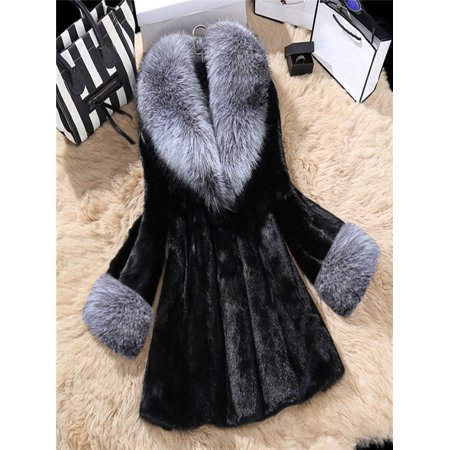Mink Car Coat - Women Long Section Of Imitation Mink Fox Coat With Cap Fur Coat BK/L