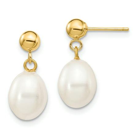 Primal Gold 14 Karat Yellow Gold 7-8mm White Rice Freshwater Cultured Pearl Dangle Post Earrings Freshwater Shiny Earrings
