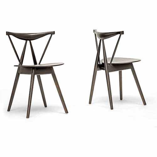 Wholesale Interiors Mercer Wood Modern Dining Chair, Set of 2, Dark Brown