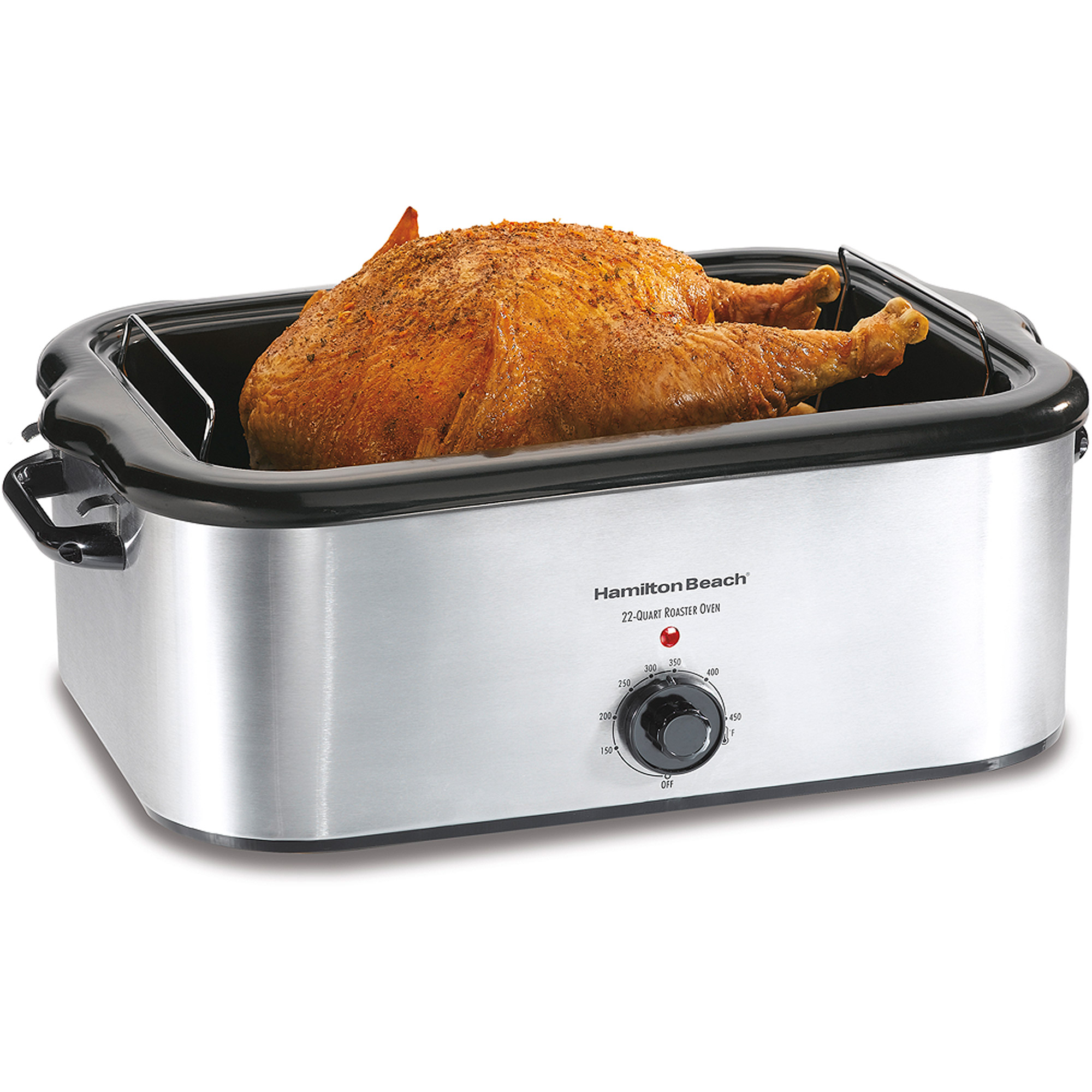 Hamilton Beach 24-Pound Turkey Roaster Oven, 22 Quart Capacity - Stainless Steel