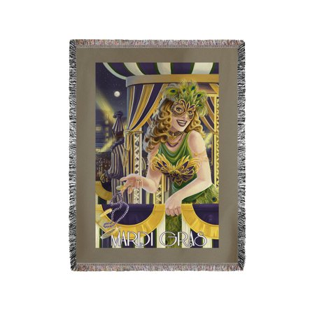 Mardi Gras Girl - Lantern Press Poster (60x80 Woven Chenille Yarn Blanket)](Mardi Gras Throws)