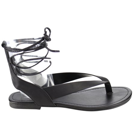 f2be9d5c95a65 Soda IA41 Women s Lace Up Strappy Cutout Back Flat Thong Sandals -  Walmart.com