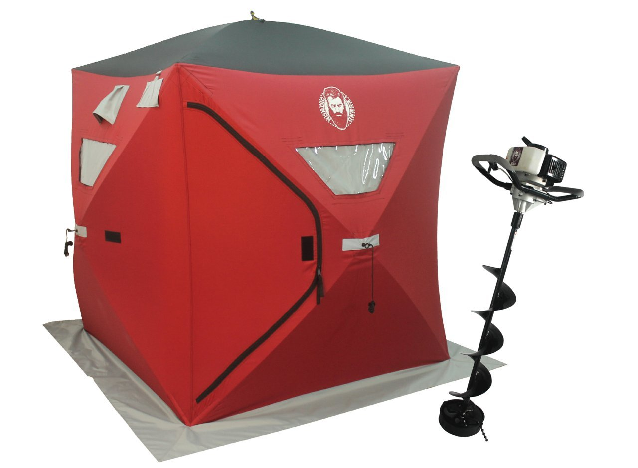 33cc Power Ice Auger and Portable Two Man Shelter Combo by Thunderbay