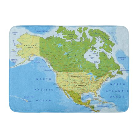 SIDONKU Blue Mexico Highly Detailed Political Map Separated Layers North and Central America Green USA Doormat Floor Rug Bath Mat 23.6x15.7