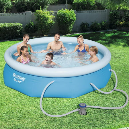 Bestway Fast Set Swimming Pool Set with 330 GPH Filter Pump, 10' x (Best Way To Store Spaghetti)