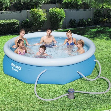 Bestway Fast Set Swimming Pool Set with 330 GPH Filter Pump, 10' x