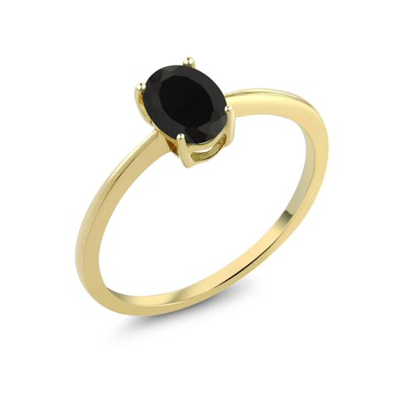 0.80 Ct Oval Black Onyx 10K Yellow Gold Solitaire Engagement